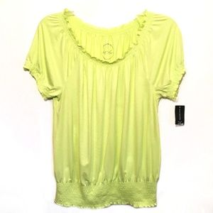 INC Smocked Peasant Top Scoop Neck Sunny Lime M